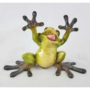 蛙 かえる カエル 置き物 オブジェ ばんざい蛙 30%引き アウトレット ・サイズ:幅11cm×高...