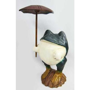 蛙 かえる カエル 置き物  オブジェ 木製カエル(アンブレラ) 30%引き アウトレット ・蛙のサ...