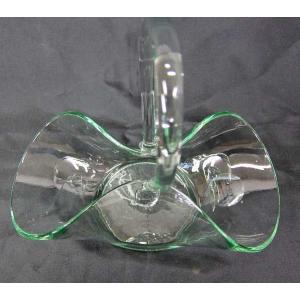 ガラス器 花器 手付きバスケット型 フラワーアレンジメント ドライフラワー プリザーブドフラワー 50%引き 在庫1個 アウトレット potos 02