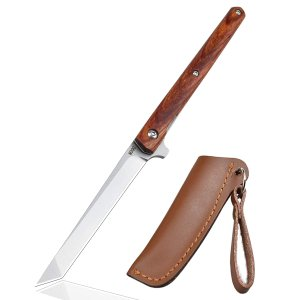 AUBEY 折りたたみナイフ フォールディングナイフ ダマスカス 小型 ナイフ 折りたたみ 木製ハンドル アウトドア 釣り 果物切り キャンプ コレクションの画像