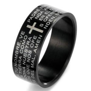 送料無料 聖書 刻印 クロス ブラック リングメンズアクセ ステンレス 指輪 アクセサリー|povstore