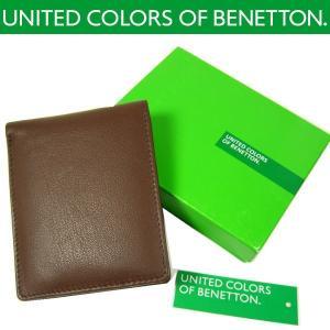 【BENETTON】ベネトン 高級本革 2つ折り財布(ブラウン) power-house-again