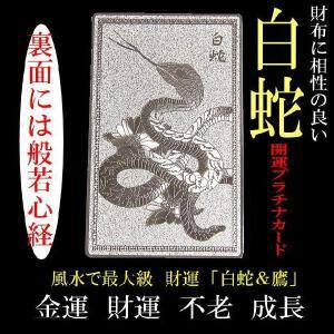 財布に入れる 白蛇&鷹「開運プラチナプレート」風水で最強の金運/不老/家庭円満|power-house-again