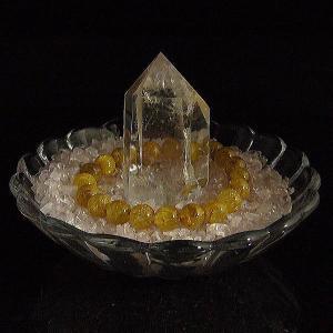 【高品質】ポイント水晶クラスター浄化3点セット福袋!ローズクォーツさざれ水晶200g/ガラスの器|power-house-again