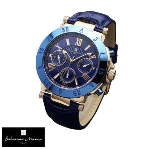風水で仕事運に良い色と言われている紺色:ネイビー 有名イタリーブランド Salvatore Marra クロノグラフ ミネラルクリスタルガラス 流通限定モデル|power-house-again
