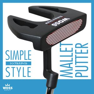 パター WOSS(ウォズ)シンプルスタイル パター WP-1604/2 マレット メンズ レディース/ゴルフ クラブ 男女兼用 激安 アウトレット価格 カラー:ブラック