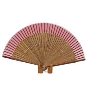 無地短地絹扇子  赤 pp-koshidou