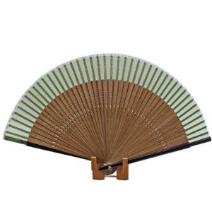 無地短地絹扇子  緑 pp-koshidou