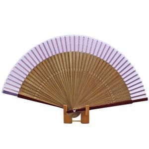 無地短地絹扇子  紫 pp-koshidou