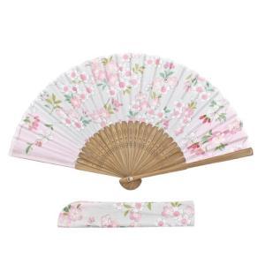友禅刺繍扇子セット  桜舞い ピンク pp-koshidou