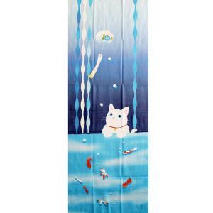 濱文様 絵てぬぐい 猫と金魚の夏 pp-koshidou