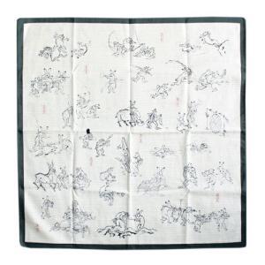 綿シャンタン 鳥獣戯画 緑|pp-koshidou