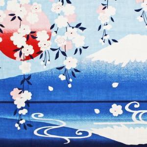 濱文様 絵てぬぐい 枝垂れ桜にさかさ富士|pp-koshidou