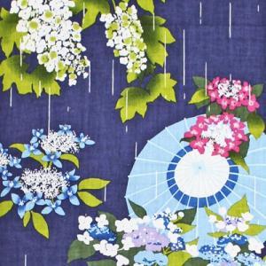 濱文様 絵てぬぐい 五月雨に紫陽花|pp-koshidou