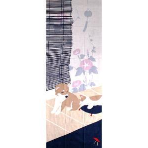 濱文様 絵てぬぐい 豆柴と猫の夏|pp-koshidou