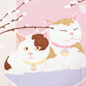 濱文様 絵てぬぐい 猫にねこやなぎ|pp-koshidou