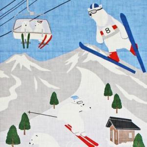 濱文様 絵てぬぐい スキーシロクマ|pp-koshidou