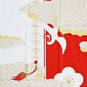 濱文様 絵てぬぐい 祝い紅白鶴亀|pp-koshidou