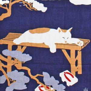 濱文様 絵てぬぐい ゆったり猫|pp-koshidou