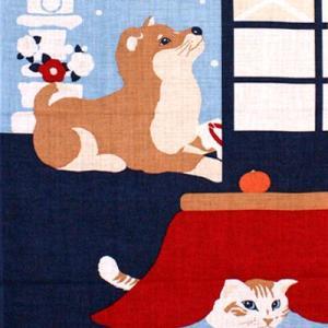 濱文様 絵てぬぐい「豆柴と猫の冬」|pp-koshidou