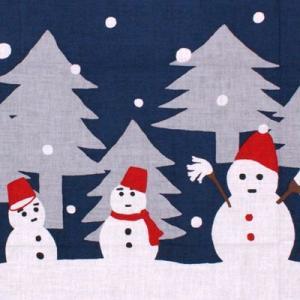 濱文様 絵てぬぐい「雪だるま家族」|pp-koshidou
