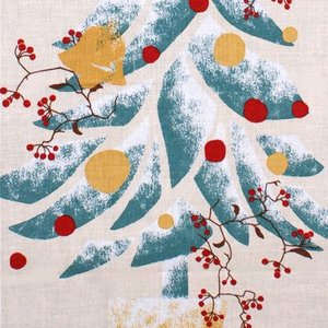 濱文様 絵てぬぐい「もみの木とサンキライ」|pp-koshidou