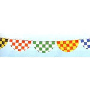 【2個から販売】H-10 半円チェッカー旗(14枚付)  アソートOK【連続旗】|pr-youhin