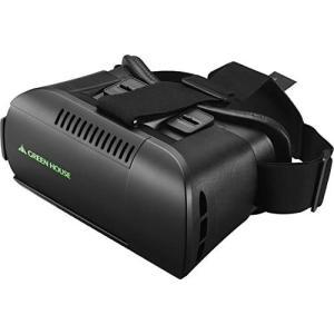 グリーンハウス スマートフォン用VRゴーグル 幅5878mm 3.5インチ6.1インチ対応 3点保持式ヘッドバンド採用 GH-VRHA-BK praticopratico