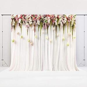 Kate 背景布 2.2x1.5m 結婚式 背景布 花 背景 白 カーテン写真背景 撮影用 背景布 撮影背景(HJ04269 2.2x1.5m)|praticopratico