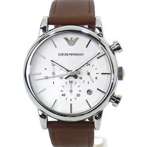 エンポリオ アルマーニ  腕時計 AR1846 クロノグラフ EMPORIO ARMANI  ブラウン レザー 40mm メンズ・ボーイズサイズ【アウトレット展示品】|pre-ma
