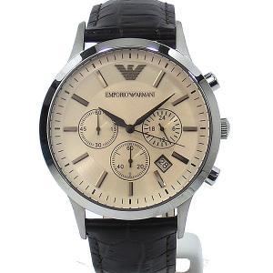 エンポリオ アルマーニ  メンズ 腕時計 AR2433  クロノグラフ EMPORIO ARMANI  ブラウン レザー 新品|pre-ma