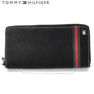 トミーヒルフィガー 長財布  ラウンドファスナー 31TL13X012 (91-4811) TOMMY HILFIGER ブラック レザー pre-ma