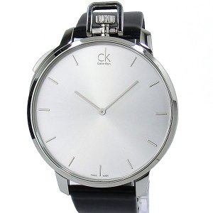 【アウトレット付属品欠品】カルバンクライン メンズ腕時計 K3Z211C6 48mm シルバー/ブラックレザー|pre-ma