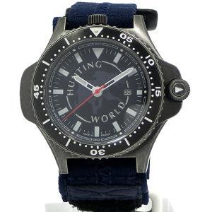 HUNTING WORLD ハンティングワールド メンズ腕時計 HWC010GUN コンパス付 ガンメタル/ネイビー 限定モデル|pre-ma