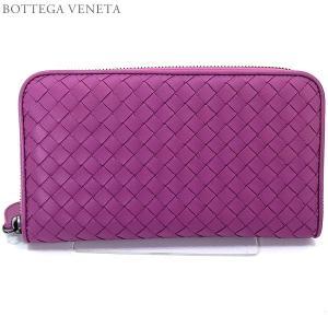 ボッテガヴェネタ 長財布 ラウンドファスナー 114076 V001N 5500 PEONIA/ピンクパープル BOTTEGA VENETA|pre-ma