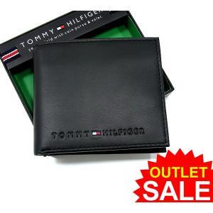 【アウトレット特価】トミーヒルフィガー 財布/二つ折り ブラック/BK レザー 31TL25X005 96-4859