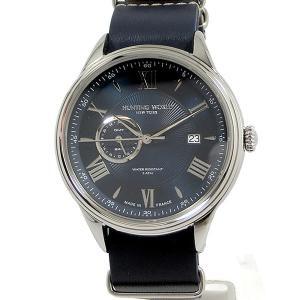 ハンティングワールド メンズ 腕時計 HWG010SBL クォーツ 5ATM ネイビー GMT 替えベルト付 正規品【新品アウトレット】|pre-ma