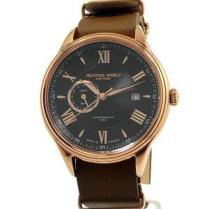 ハンティングワールド メンズ 腕時計 HWG010PBK クォーツ 5ATM ブラウン GMT 替えベルト付 正規品【新品アウトレット】|pre-ma