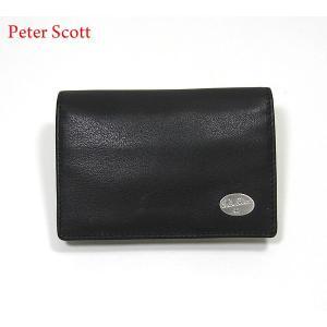 Peter Scott ピータースコット 名刺入れ/カードケース ブラック 0605BK 本革 セール|pre-ma