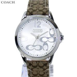 コーチ COACH  レディース腕時計 シグネチャー 14501620 シルバー マホガニ レザー【アウトレット展示品】|pre-ma