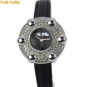 フォリフォリ Folli Follie 腕時計 レディース WF5T016SPKKK ブラックレザー ギフトバッグ付|pre-ma