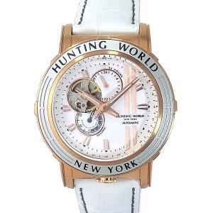ハンティングワールド メンズ腕時計 HW993WH アディショナルタイム 自動巻き レザー ホワイト|pre-ma