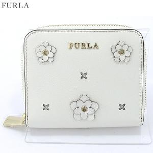 【アウトレット特価】 FURLA フルラ 二つ折り 財布 ラウンドジップ  BABYLON S / 870844 PS21 ND1 PET PETALO/ホワイト|pre-ma