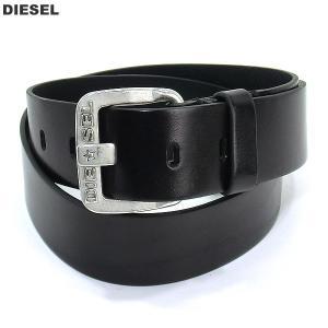 ディーゼル DIESEL メンズレザーベルト B-STAR BELT  X03721 PR227 H5908 ブラック/シルバー|pre-ma