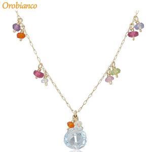 Orobianco オロビアンコ ネックレス 40cm ORGN001 K10ゴールド/天然ブルートパーズ 在庫セール|pre-ma
