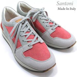 Santoni サントーニ スニーカー シューズ SA13046 キャンバス レッド/グレー メンズ 決算セール|pre-ma