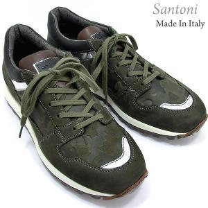 Santoni サントーニ スニーカー レザーシューズ SA13323 CLUB カーキグリーン/迷彩柄 メンズ 在庫セール|pre-ma