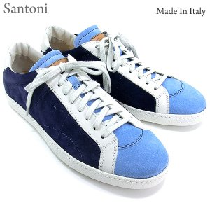 Santoni サントーニ スニーカー レザーシューズ SA13807 CLUB ブルー スエード メンズ|pre-ma