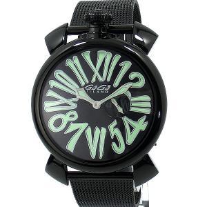 ガガミラノ GaGa MILANO 腕時計 5082.2 SLIM スリム 46mm ブラックPVD メッシュメタル アウトレット|pre-ma