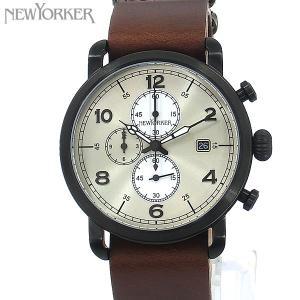 ニューヨーカー NEWYORKER 腕時計 クロノグラフ NY007.02  シャンパンゴールド/ブラウン メンズ  レザー 【アウトレット訳あり】|pre-ma